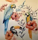 'Flowers & Parrots' by Dave Martin